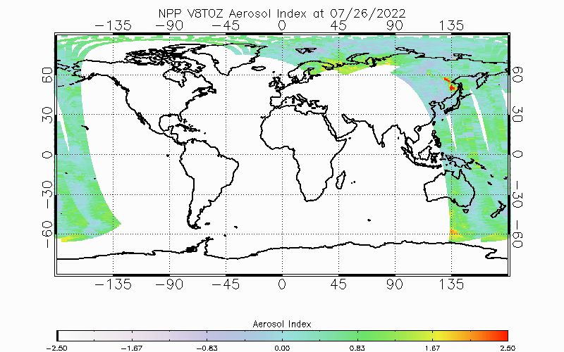 Latest OMPS V8TOZ Aerosol Index from Daily Product