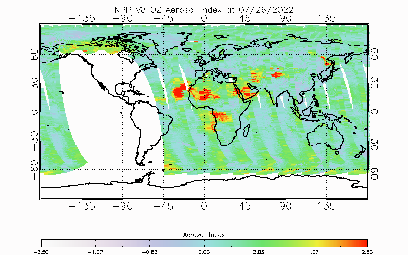 Yesterday OMPS V8TOZ Aerosol Index from Daily Product