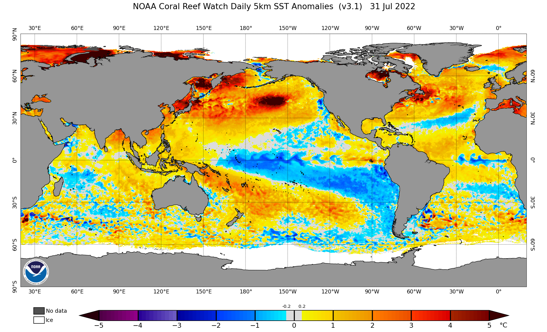 Map of SST anomalies
