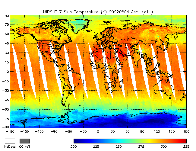 Surface Temperature from DMSP-F17, Ascending Orbit
