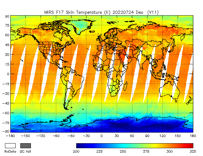 Surface Temperature from DMSP-F17, Descending Orbit