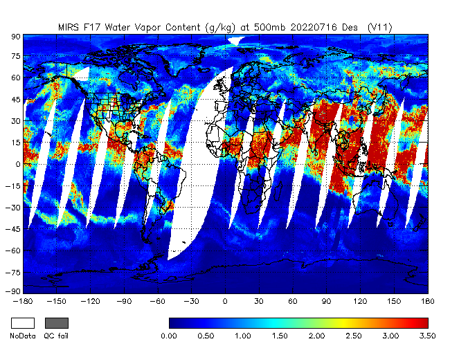 500mb Water Vapor from DMSP-F17, Descending Orbit