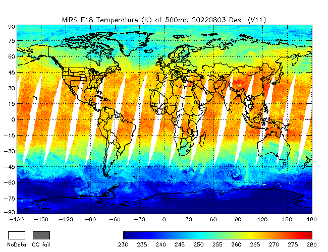 500mb Temperature from DMSP-F18, Descending Orbit