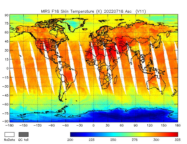 Surface Temperature from DMSP-F18, Ascending Orbit
