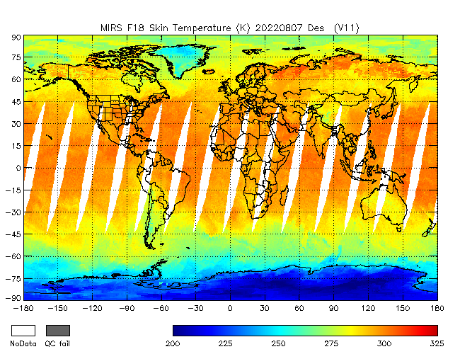 Surface Temperature from DMSP-F18, Descending Orbit