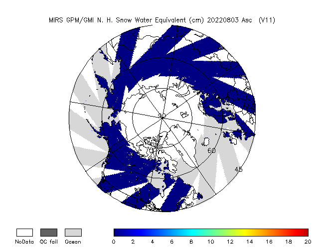 SWE Northern Hemisphere from GPM, Descending Orbit