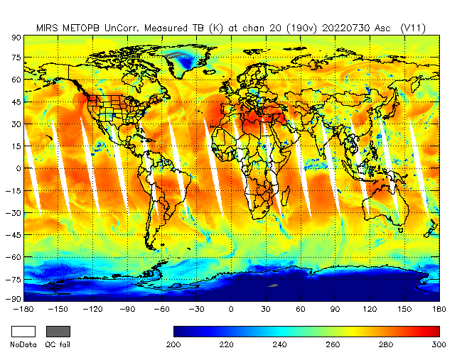 190v Brightness Temperature from Metop B, Ascending Orbit