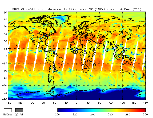 190v Brightness Temperature from Metop B, Descending Orbit