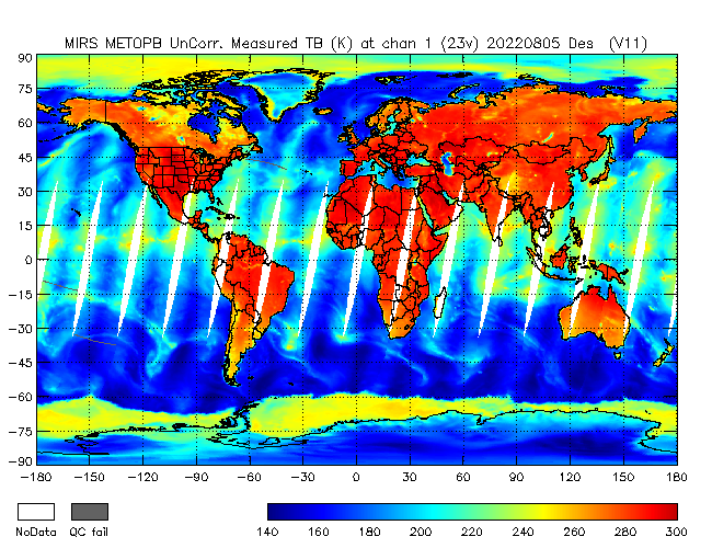 23v Brightness Temperature from Metop B, Descending Orbit