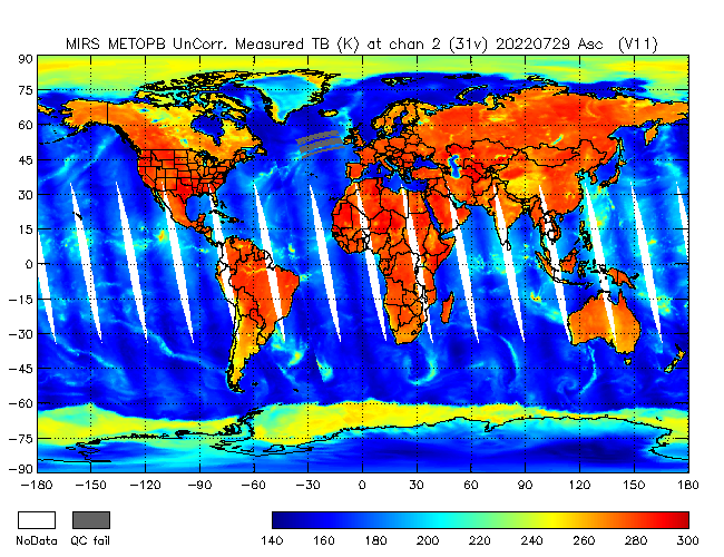 31v Brightness Temperature from Metop B, Ascending Orbit