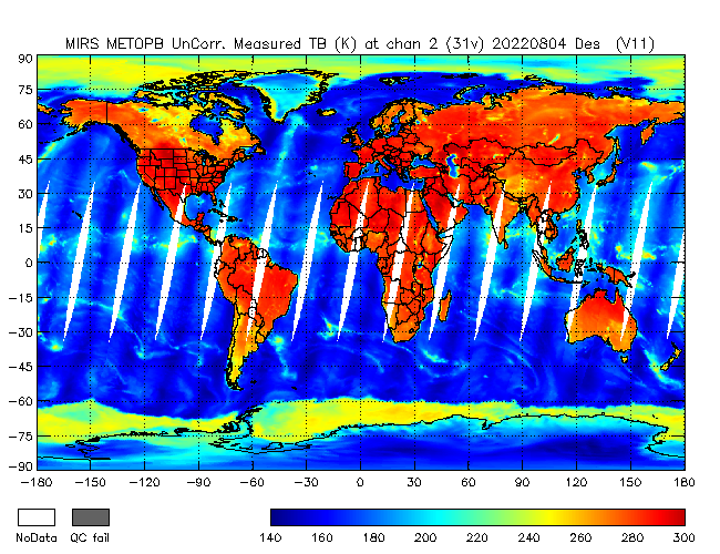 31v Brightness Temperature from Metop B, Descending Orbit