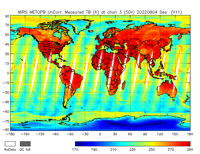 50v Brightness Temperature from Metop B, Descending Orbit