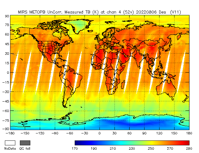 52v Brightness Temperature from Metop B, Descending Orbit
