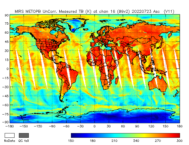 89v2 Brightness Temperature from Metop B, Ascending Orbit