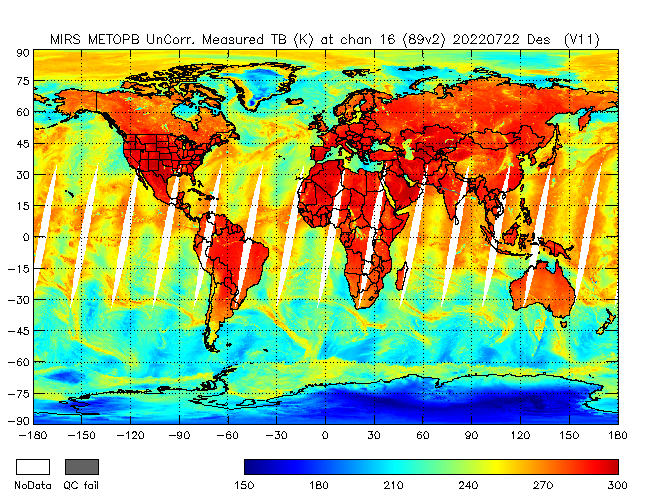 89v2 Brightness Temperature from Metop B, Descending Orbit