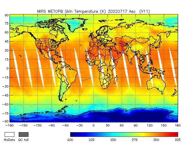 Surface Temperature from Metop-B, Descending Orbit