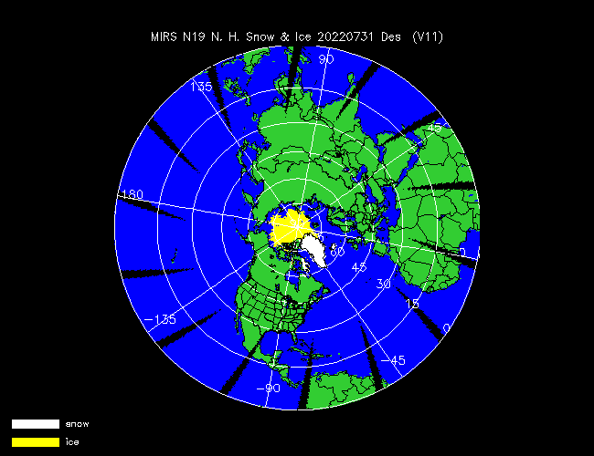 Snow Cover Northern Hemisphere from NOAA-P, Desending Orbit