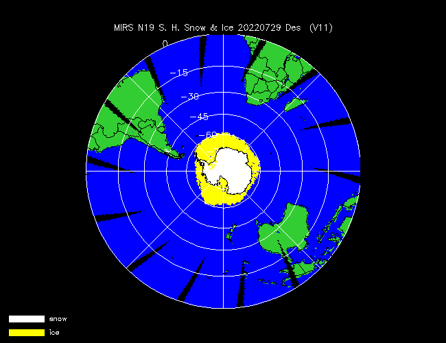 Snow Cover Southern Hemisphere from NOAA-P, Desending Orbit