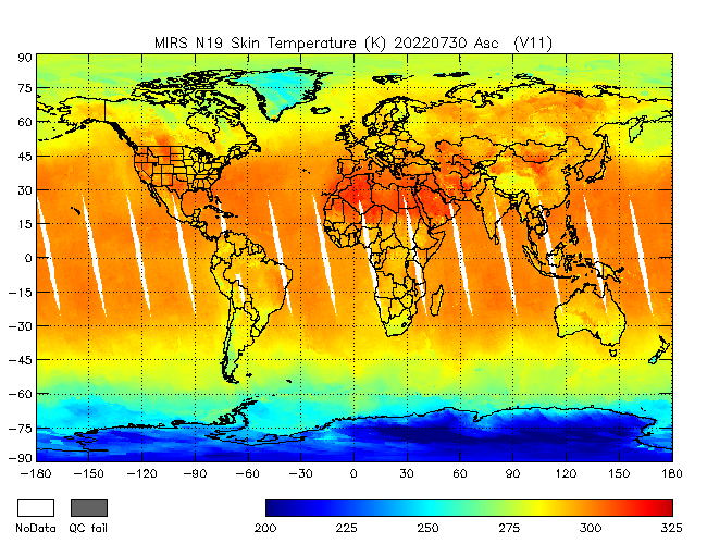 Surface Temperature from NOAA-P, Ascending Orbit