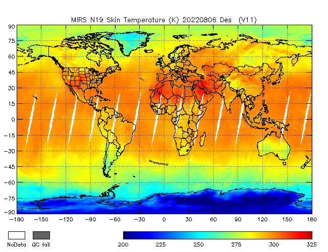 Surface Temperature from NOAA-P, desending Orbit