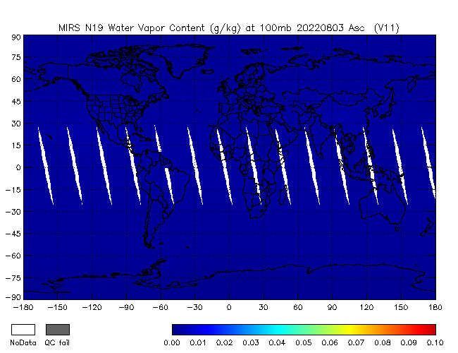 100mb Water Vapor from NOAA-19, Ascending Orbit