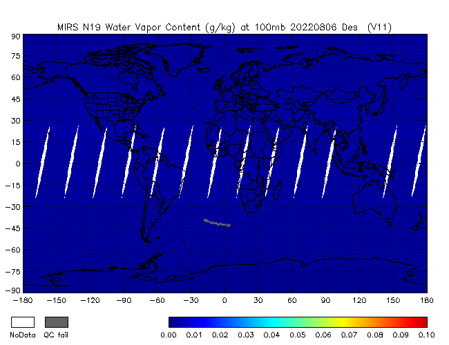 100mb Water Vapor from NOAA-19, Descending Orbit