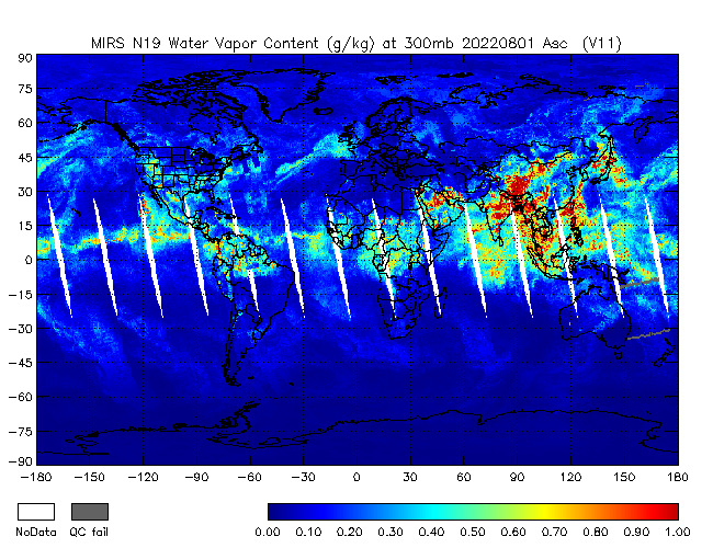 300mb Water Vapor from NOAA-19, Ascending Orbit