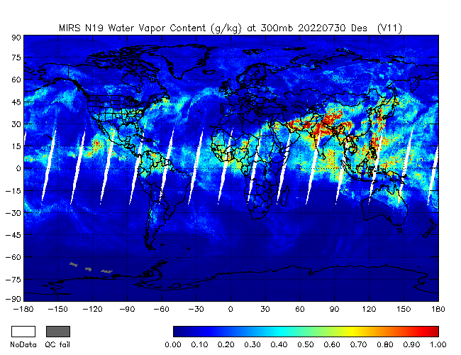 300mb Water Vapor from NOAA-19, Descending Orbit