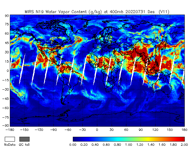 400mb Water Vapor from NOAA-19, Descending Orbit