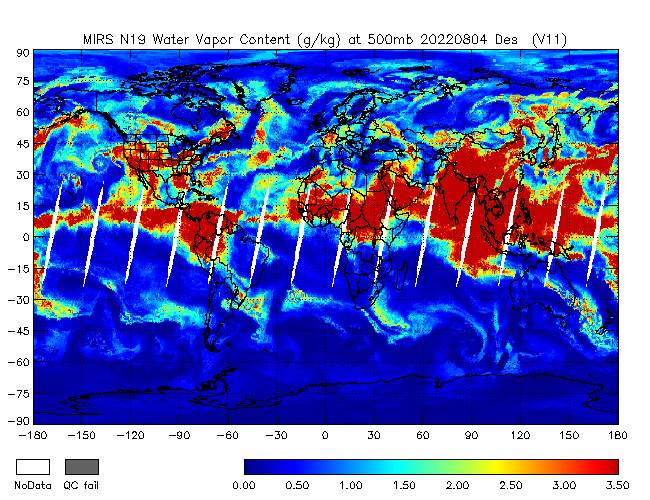 500mb Water Vapor from NOAA-19, Descending Orbit