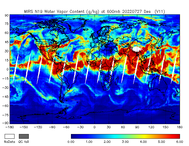 600mb Water Vapor from NOAA-19, Descending Orbit