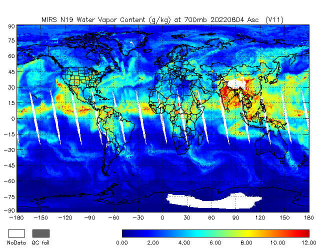 700mb Water Vapor from NOAA-19, Ascending Orbit