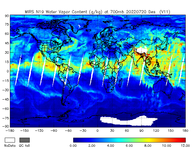 700mb Water Vapor from NOAA-19, Descending Orbit