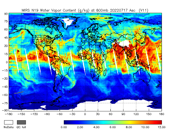 800mb Water Vapor from NOAA-19, Ascending Orbit