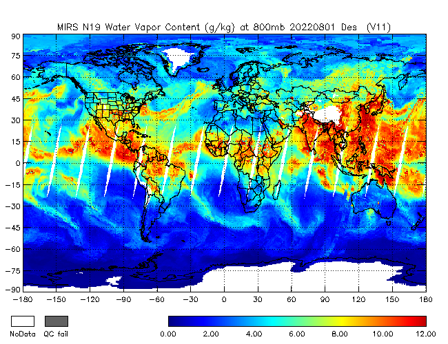 800mb Water Vapor from NOAA-19, Descending Orbit