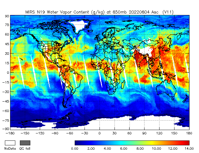 850mb Water Vapor from NOAA-19, Ascending Orbit