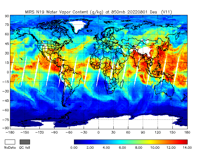850mb Water Vapor from NOAA-19, Descending Orbit