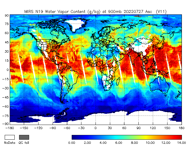 900mb Water Vapor from NOAA-19, Ascending Orbit