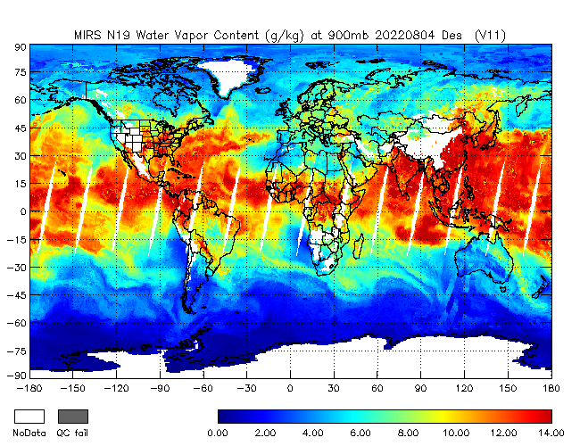 900mb Water Vapor from NOAA-19, Descending Orbit