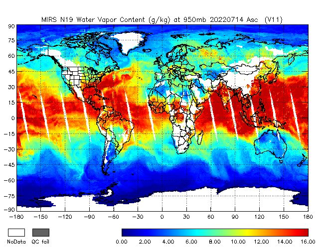 950mb Water Vapor from NOAA-19, Ascending Orbit
