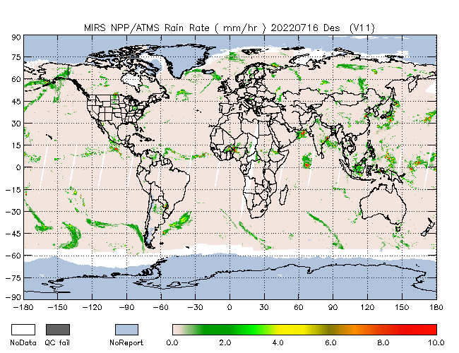 Rain Rate from NPP, Descending Orbit
