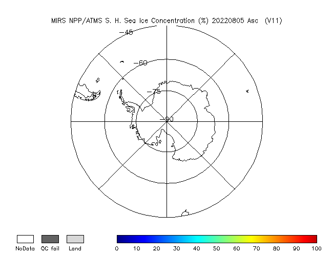 Sea Ice Southern Hemisphere from NPP, Ascending Orbit