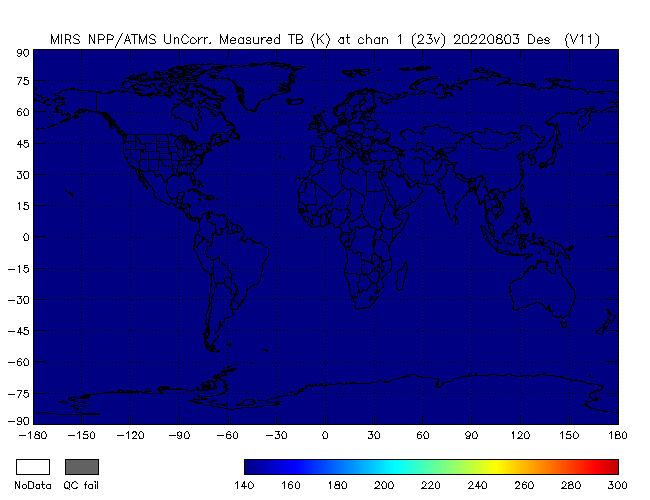 23v Brightness Temperature from NPP, Descending Orbit