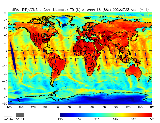 88v Brightness Temperature from NPP, Ascending Orbit