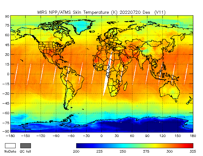 Surface Temperature from NPP, Descending Orbit