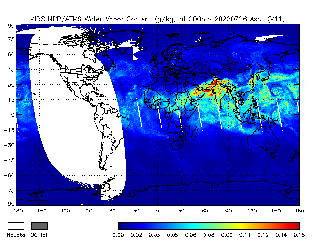 200mb Water Vapor from NPP, Ascending Orbit