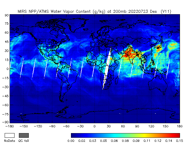 200mb Water Vapor from NPP, Descending Orbit
