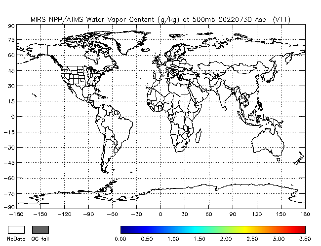 500mb Water Vapor from NPP, Ascending Orbit